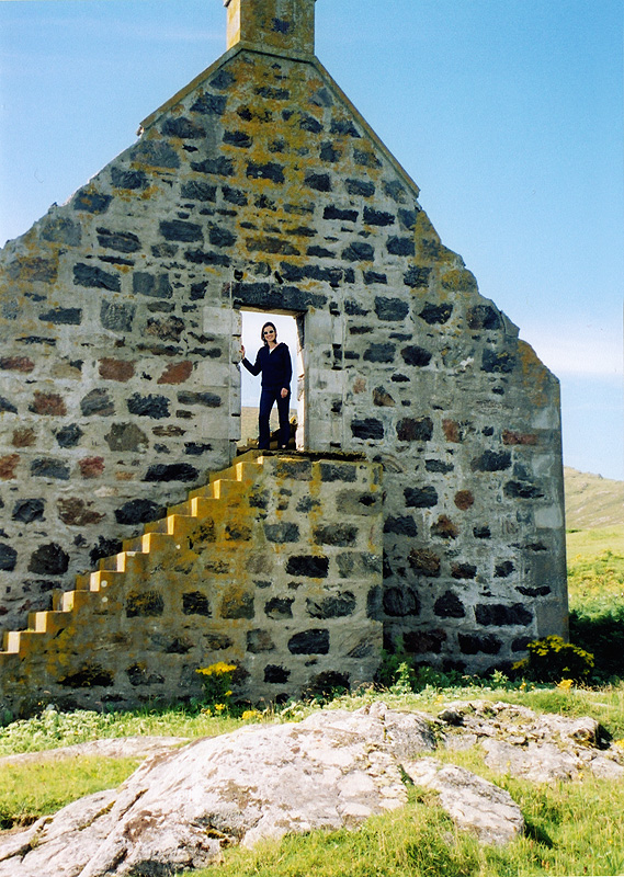 Maggie MacInnes at the ruins in Mingulay